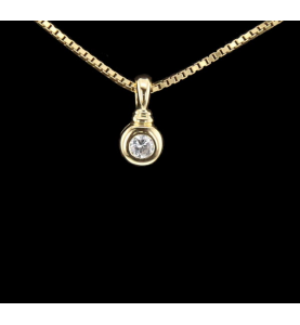 Collier Solitaire Or jaune 0.25 Cts