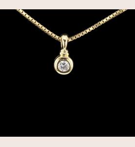Solitär Halskette Gelbgold 0.25 Cts
