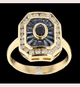 Yellow gold sapphire ring...