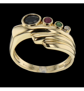 Ruby Sapphire Gold Ring