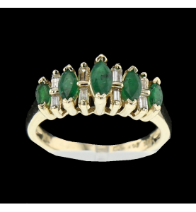 Ring gelber Smaragd und Diamanten