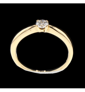 Solitaire ring yellow gold 0.20 carats