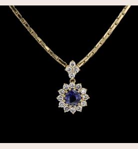 Halskette Anhänger Gelb Saphir und Diamanten