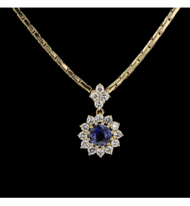 Necklace pendant yellow gold Sapphire and Diamonds