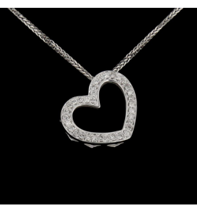 Collier Coeur en or gris diamants