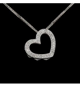 Halskette Herz aus Gold grau Diamanten