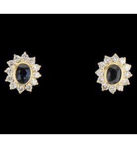 Schleifen Gelbgold Saphire und Diamanten