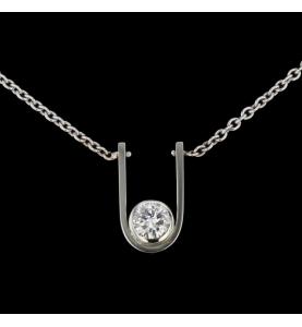 Collier Or gris diamant 0.75 carats