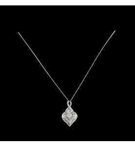 Pendentif or gris diamants 0.96 carats