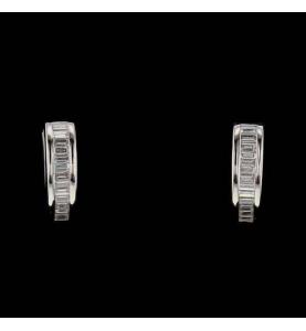 Demi Créoles or gris diamants