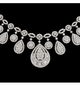 Collier Or blanc diamants 12 carats