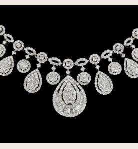 Halskette Weißgold 12 Karat Diamanten.