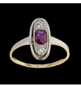 Ring 2 Gold Diamanten und Rubine
