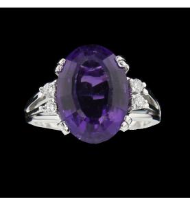 Bague or gris Améthyste et Diamants