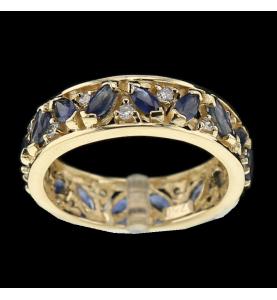 Ring Gelbgold Saphire und Diamanten
