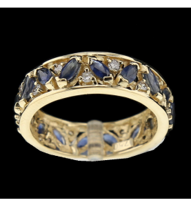 Yellow gold sapphire and...