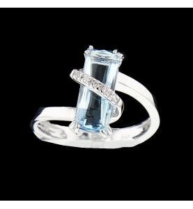 Bague or Gris Aigue Marine et Diamants