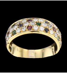 Ring yellow gold precious stones