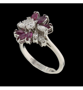 RUBY AND DIAMOND WHITE GOLD FLOWER RING