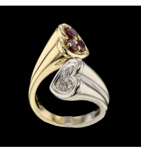 RING TWO HEARTS RUBY DIAMONDS