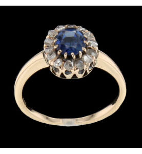 SAPPHIRE ROSE GOLD RING AND DIAMONDS