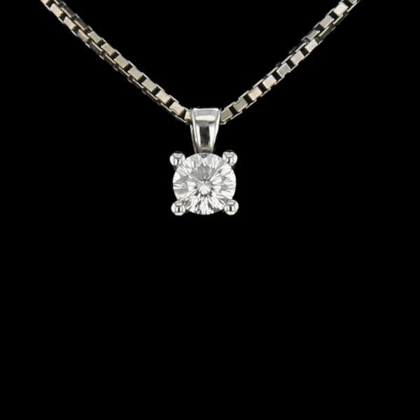 Collier pendentif or gris diamant