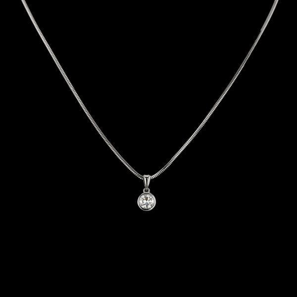 Diamond grey gold pendant necklace