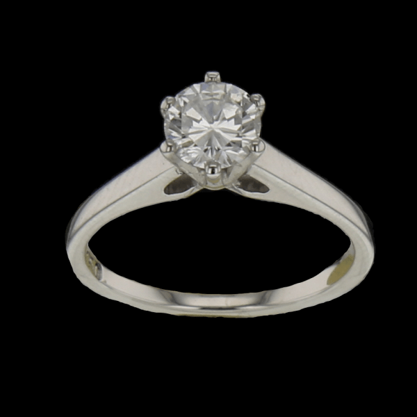 Solitaire ring in white gold 0.71 carats