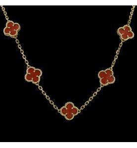 Halskette aus Gelbgold und Korallen