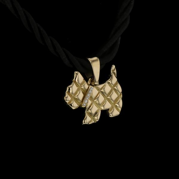 Collier pendentif en or jaune chien