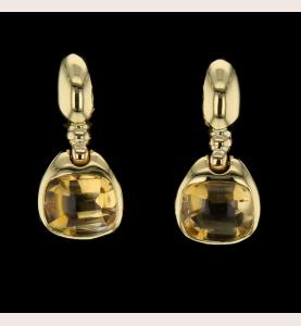 Earrings citrine yellow gold