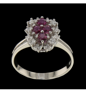 RUBY AND DIAMOND WHITE GOLD...