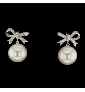 GOLD EARRING PEARLS AND DIAMONDS