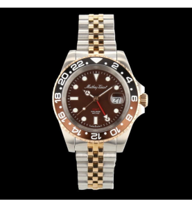 Mathey TIssot GMT Noire Brune PVD Or rose 42mm