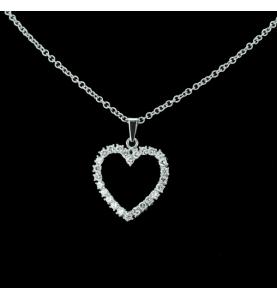 Pendentif coeur et diamants