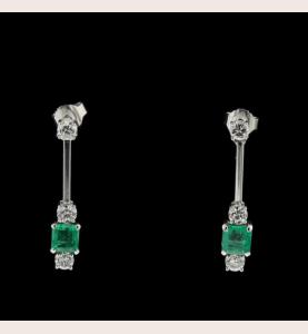 Earrings white gold Emerald Diamonds