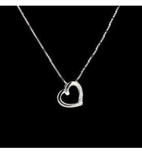 Necklace Heart Gold Grey Diamond