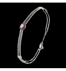Bracelet or gris diamants et saphirs roses