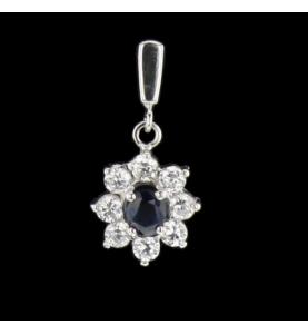 Boucles d'oreilles en or gris saphir et diamants