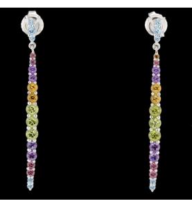 Boucles d'oreilles pendantes pierres de couleur
