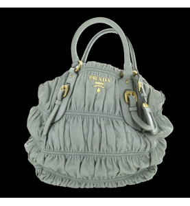 Handbag leather gray Nappa Waffle