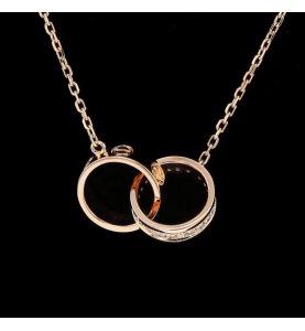 Rose gold necklace and diamonds