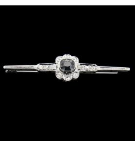 Platinum Sapphire and Diaamnts Pin