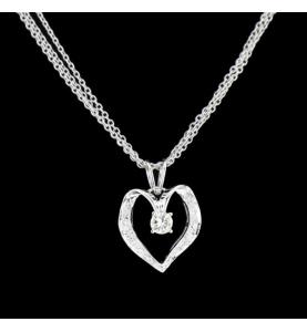 Coeur Or gris diamants 0.25 carats