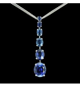 Ovale Saphir Halskette