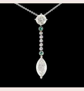 Gold Necklace Diamonds and Tourmaline Paraïba