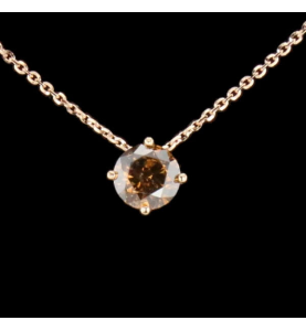 Necklace Solitaire Diamond Fancy Deep Orangy Brown 1.43 cts