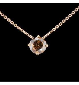Solitaire Diamant Halskette Fancy Deep Orangy Brown 1.43 cts