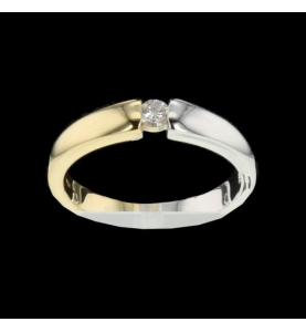 Ring zwei Gold und Diamant 0.10 Karat.