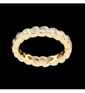 Eternity Ring Yellow Gold 19 Diamonds 1.52 carats
